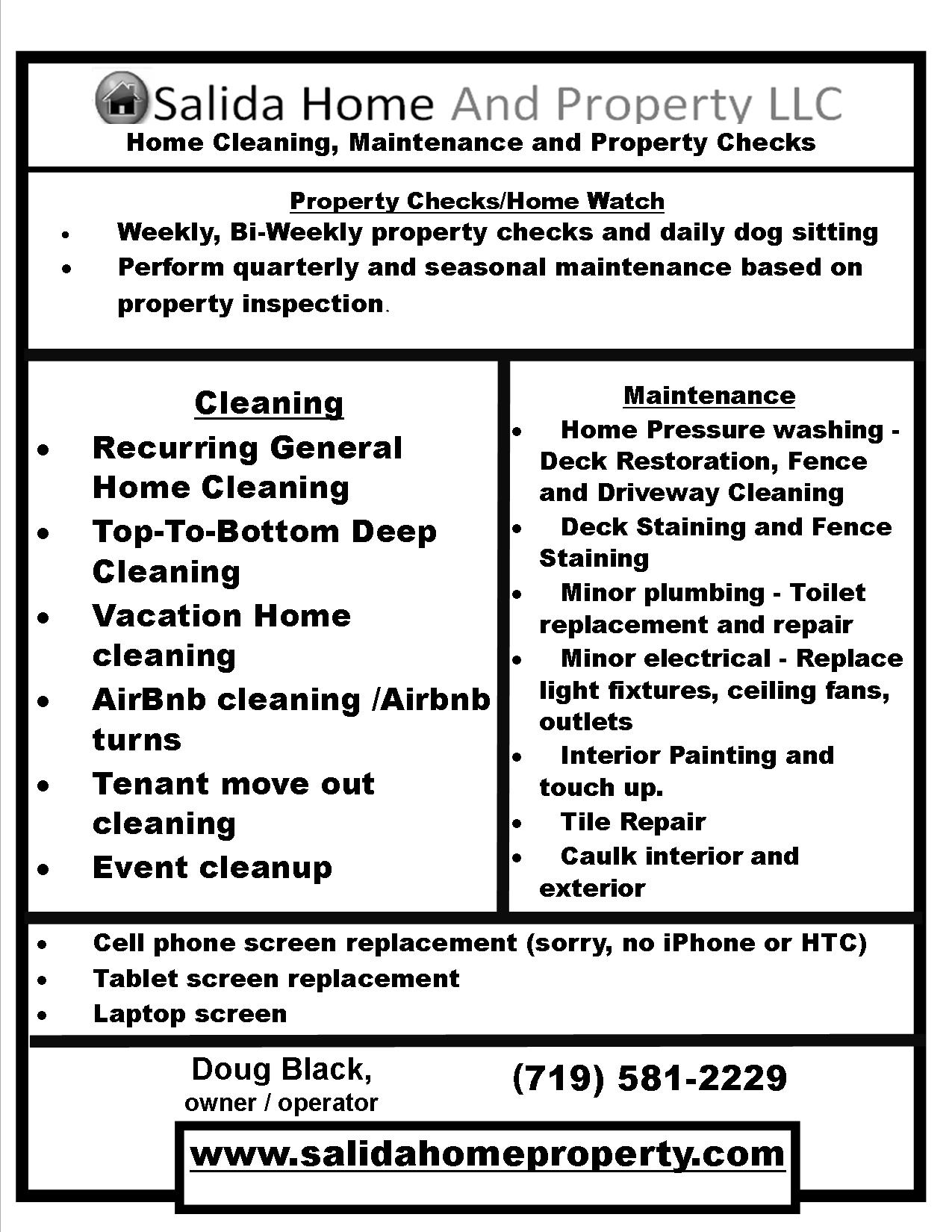 residential service offering listing salida home and property llc click here for printable flyer